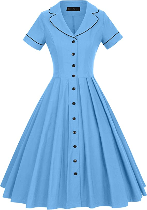 Vintage Shirtwaist Dress History GownTown Womens 1950s Vintage Short Sleeves Notch Lapel Swing Dress $36.99 AT vintagedancer.com