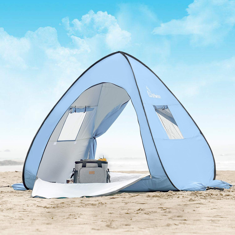 WolfWise UPF 50+ Abris de Plage Pop Up Parasol de Plage Tente Instantanée en Plein air Sportive en Plein Air Portable