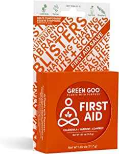 Green Goo Natural Skin Care for Cracked Hands and Feet, Insect Bites, Sunburn, Blisters, First Aid, Large Tin, 1.82 Ounce (Packaging May Vary)