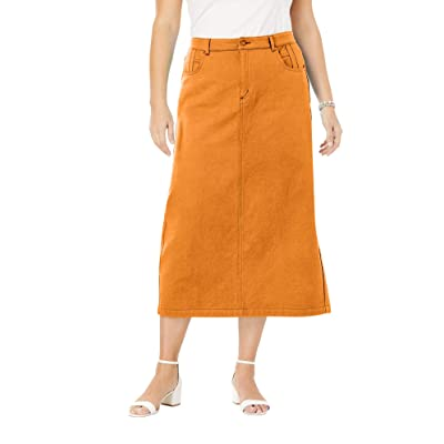 Jessica London Women's Plus Size Classic Cotton Denim Long Skirt at Women's Clothing store