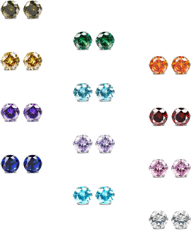 ORAZIO CZ Stud Earrings for Girls Women Stainless Steel Cubic Zirconia Screwback Earrings Set 4MM