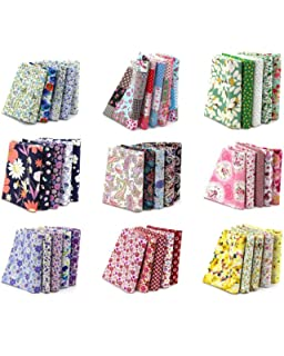 Newbested 100PCS 15 x 15cm Different Pattern Fabric Patchwork Craft Cotton DIY Sewing Scrapbooking Quilting Dot