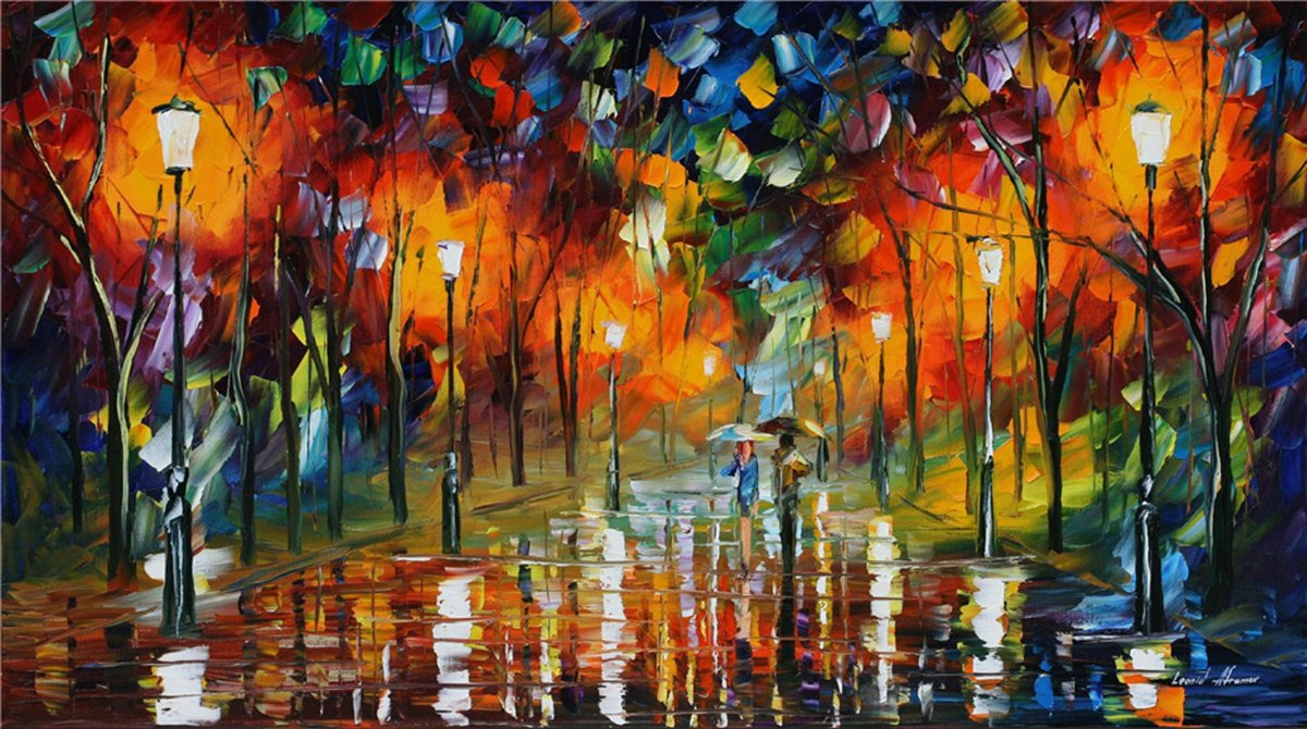100% Hand Painted Oil Paintings Modern Abstract Oil Painting on Canvas Park Night View Home Wall Decor (8X14.5 Inch, Oil Painting 1)
