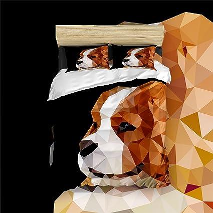 libaoge 4 piezas hojas de cama, impresión de perro sonriente geométrico, 1 hoja plana