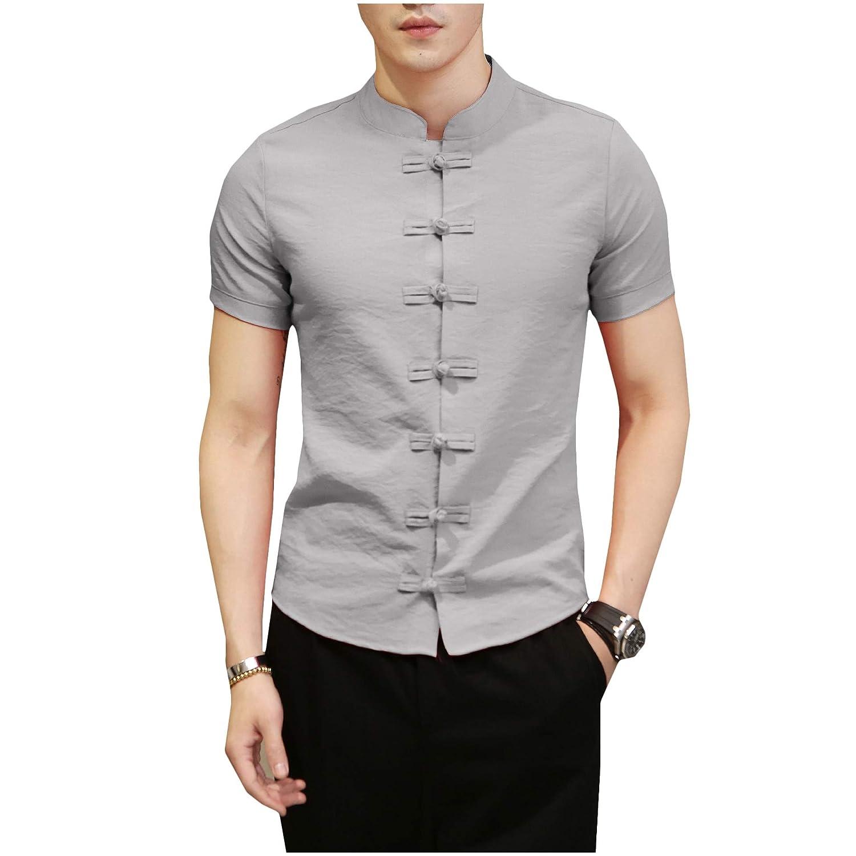 Winwinus Mens Short Sleeve Plus-Size Short-Sleeve Pure Chinese Style Shirts