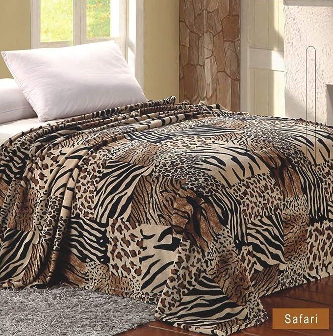 3 Pce Aqua Yellow Chevron Zebra Sherpa Blanket Coverlet QUEEN 2 Pillowcases