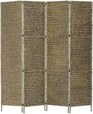vidaXL Biombo Separador 4 Paneles Plegable Divisor Ambientes Decorativo Metal Jacinto Agua Paravientos Protección Privacidad Jardín Terraza Marrón: Amazon.es: Hogar