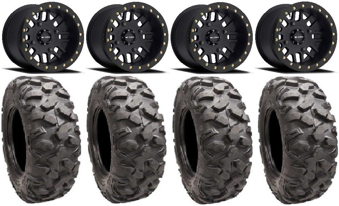 Bundle - 9 Items: Method 406 15' Beadlock Black (4+4) Wheels 34' Roctane XD Tires [4x156 Bolt Pattern 12mmx1.5 Lug Kit] Multiple