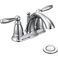 Moen Brantford Two-Handle Low-Arc Centerset Bathroom Faucet with Drain Assembly (Chrome)
