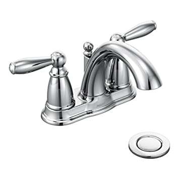 Moen Brantford Two Handle Low Arc Centerset Bathroom Faucet With Drain  Assembly, Chrome Part 85