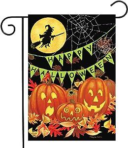 "Briarwood Lane Halloween Haunts Garden Flag Witch Jack-o-Lantern 12.5"" x 18"""