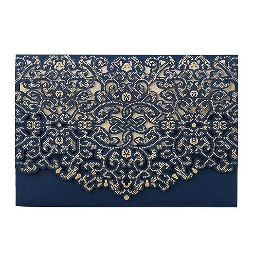 Wishmade Tarjetas De Invitaciones De Boda 20x Azul Corte Con Laser Vendimia Floral Para Matrimonio Cumpleaños Invitación De Boda Nupcial Invita Con