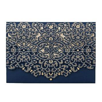 20X Einladungskarten Für Hochzeit Blau Spitze Blumen Lasercut Design Für  Hochzeit Party Einladungen Karten Blanko Set