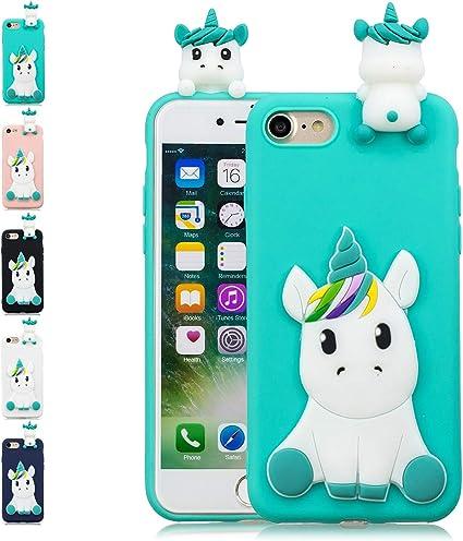LA-Otter Coque Apple iPhone 7 8 Bleu Clair Licorne Ultra Fine Slim ...