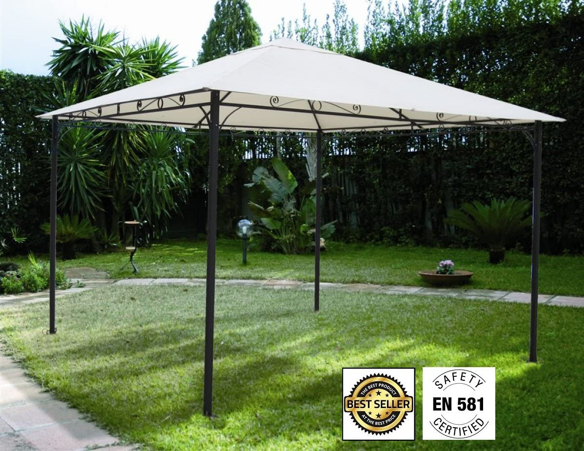 660058 – Cenador Roma de 3 x 3 metros, color crudo, impermeable, 220 g: Amazon.es: Jardín