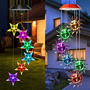 Mosteck Wind Chimes Outdoor Solar, Sunflower Wind Chimes & Stars Wind Chimes Color Changing Lights Mobile Wind Chime