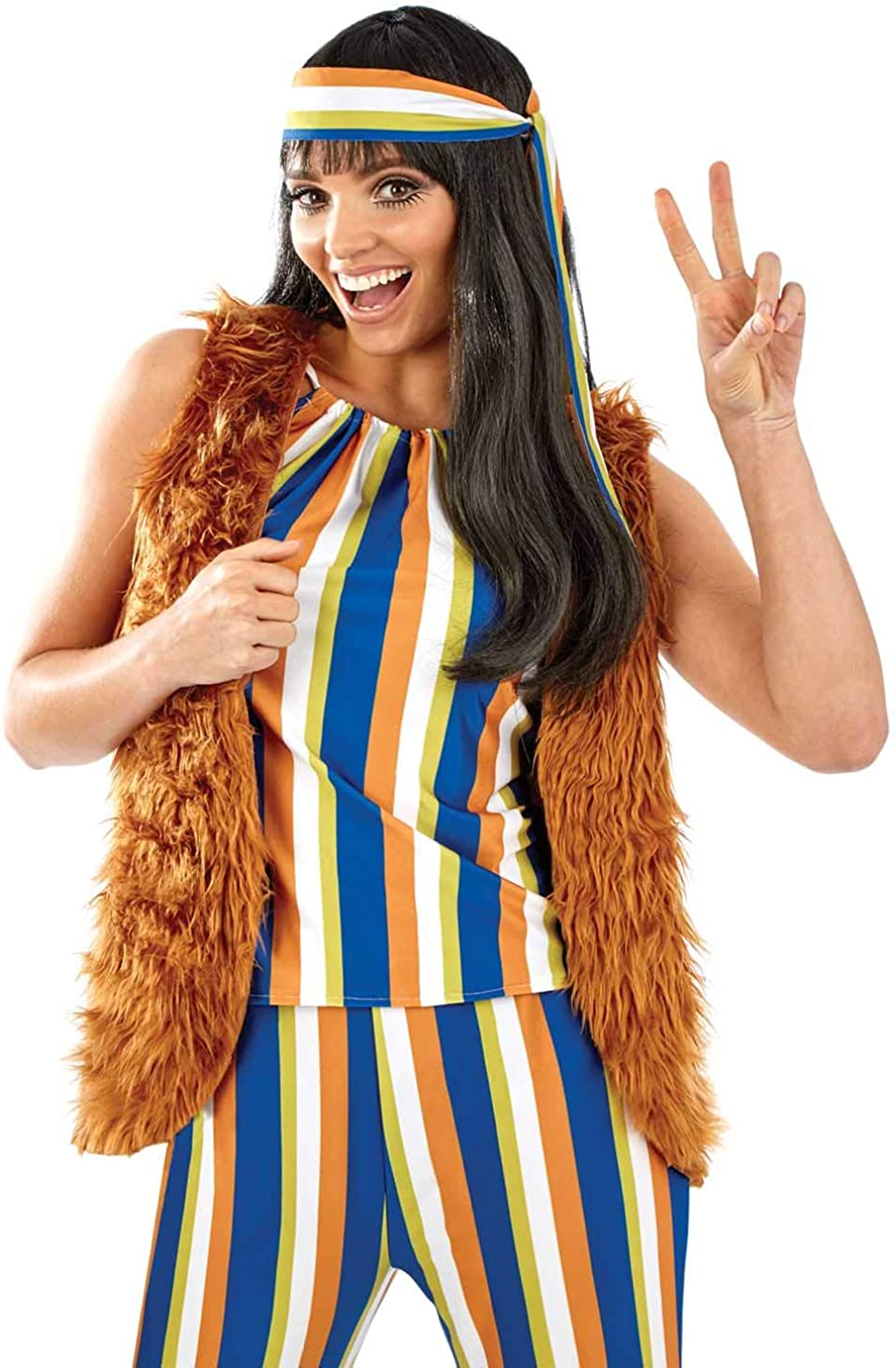 L 12-14 60s Retro Mini Dress Fringed Vest Hippie Costume Peace Love Groovy