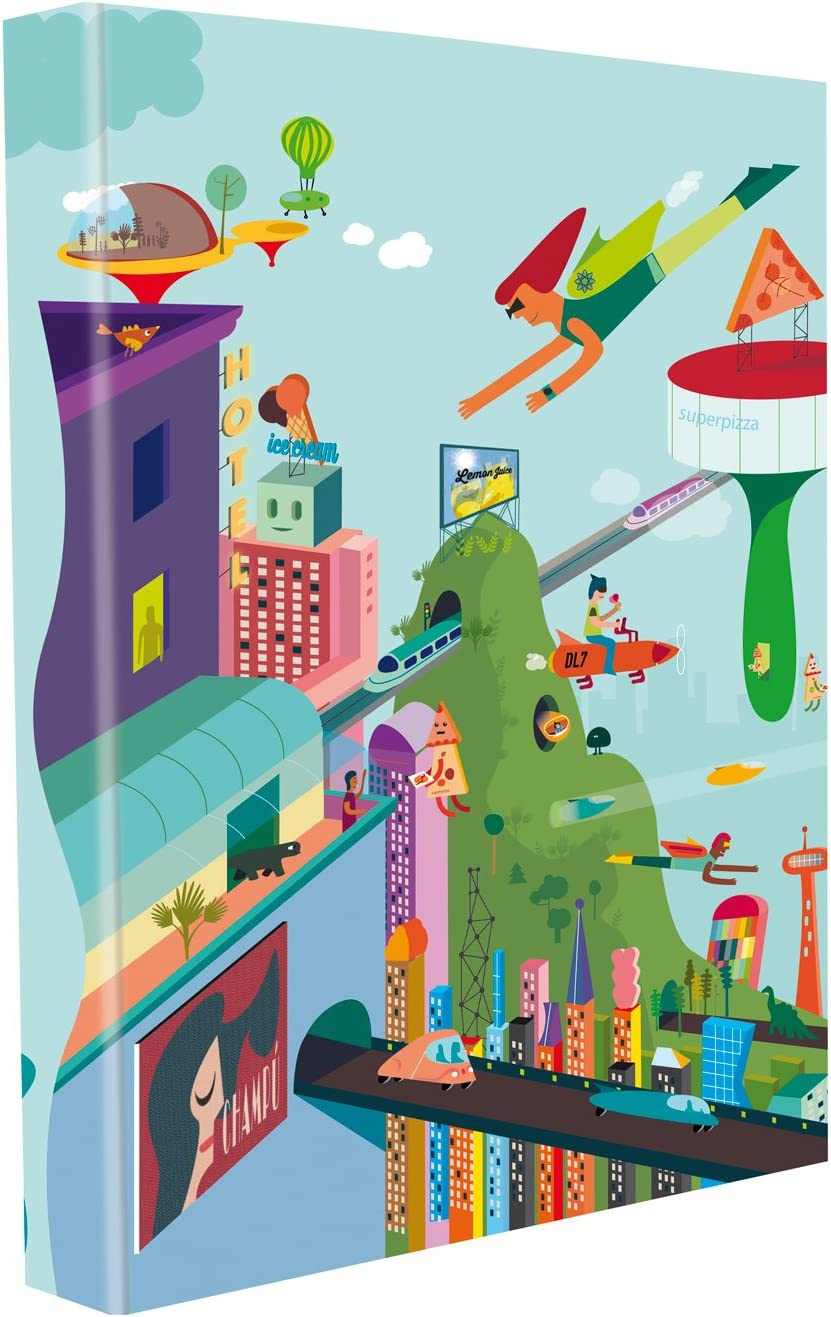 Edima School Kits - Carpeta de 4 anillas, diseño City Future