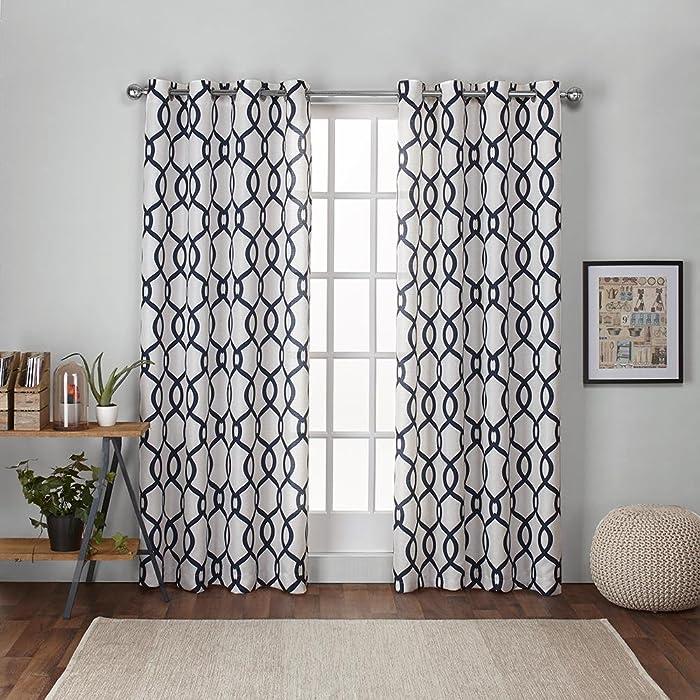 Exclusive Home Curtains Kochi Linen Blend Grommet Top Curtain Panel Pair, 54x108, Indigo, 2 Count