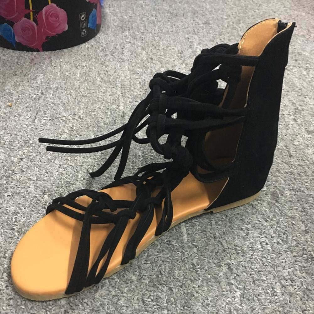 BEAUTYVAN Sandals for Women Cut Out Gladiator Flat Lace up Suede Knee High Strappy Size