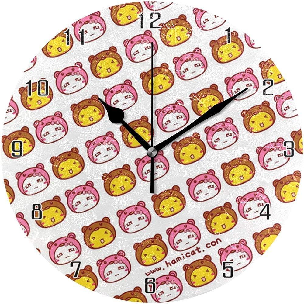 Cartoon Cute Cat World Reloj de Pared Redondo Reloj de Escritorio silencioso sin tictac