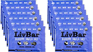 product image for LivBar - Blueberry Vanilla Kale Organic Superfood Nutrition Bar - USDA Certified - Gluten Free, Peanut Free, Soy Free, Dairy Free, Protein Snack Bars with Compostable Wrapper - 12 Pack