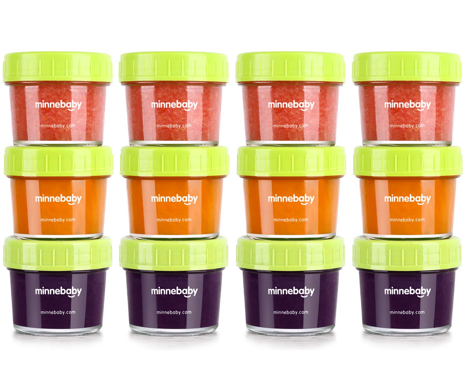 Glass Baby Food Storage Containers, BPA-Free Airtight Leak-Proof Baby Food Jars with Labels, Set of 12-4 Ounce by minne