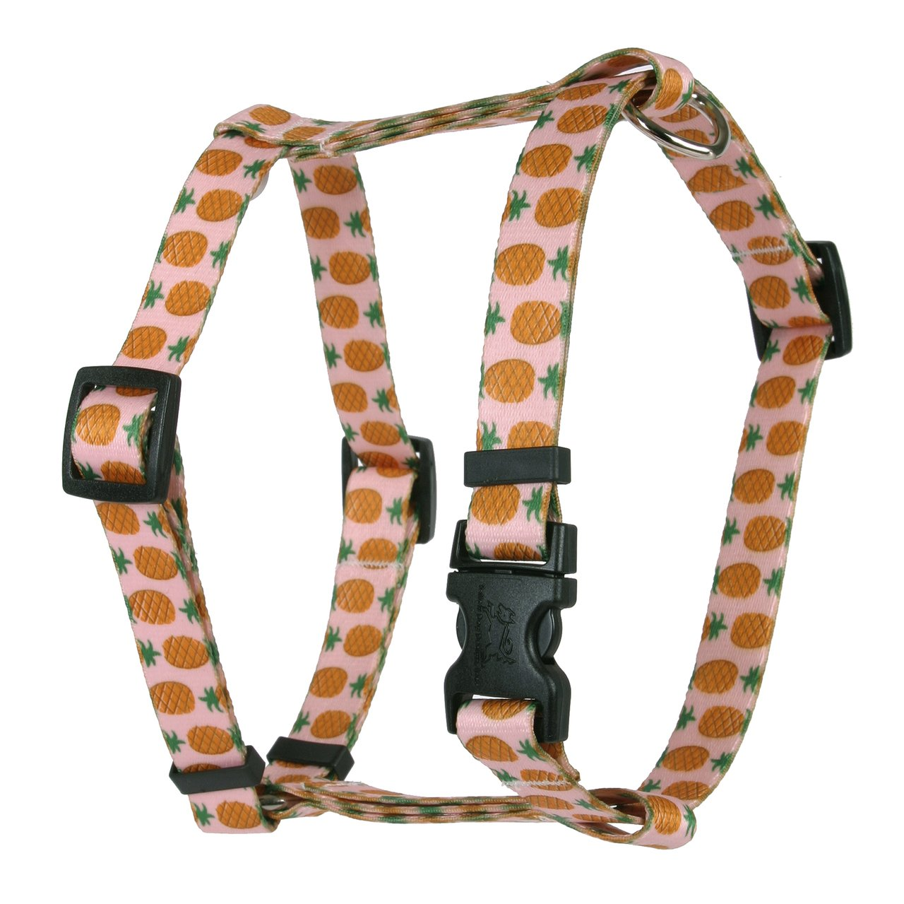 Yellow Dog Design Pineapples Pink Roman H Dog Harness, Small/Medium-3/4 Wide fits Chest of 14 to 20''