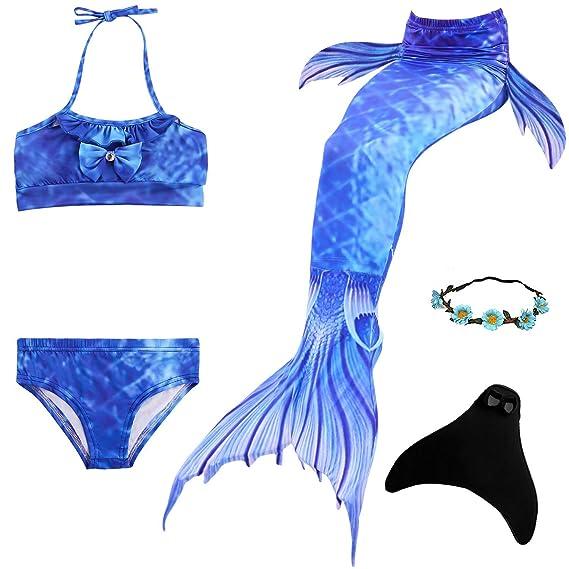 Set de Bikini de Sirena para Nadar con Cola, Mono, Aleta de ...