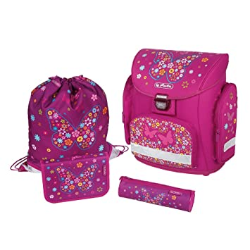 eeb46c707008c Herlitz Midi Plus Fantasy Schulranzen Set 4-teilig Schmetterling Blumen  Ranzen Tornister Schultasche Schoolbag