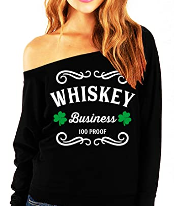 be97371b8 NoBull Woman Apparel Whiskey Business St. Patrick's Day Slouchy Light  Weight Shirt Black (Small