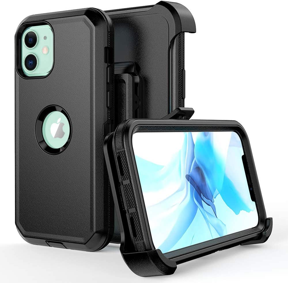 Compatible with iPhone 12 Case, iPhone 12 Pro Case,Heavy Duty Hard Shockproof Armor Protector Case Cover with Belt Clip Holster for Apple iPhone 12 6.1 2020 Phone Case (Black)