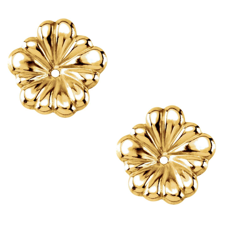 14 Karat Yellow Gold Small Flower Earring Jackets