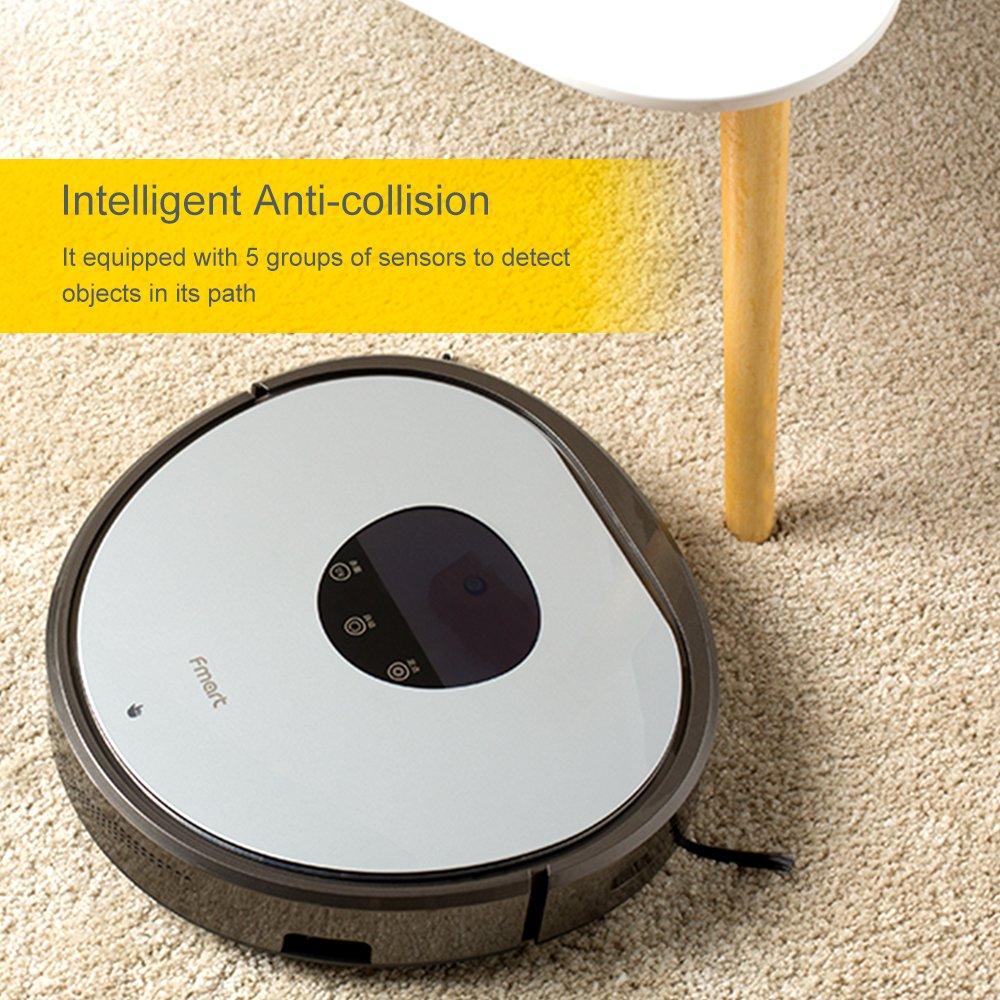 Fmart Robot Aspirador Automático Robot Aspirador con Fuerte succión y Filtro de HEPA UV esterilice Carga automática Robot Aspirador para Alfombra de Pelo ...