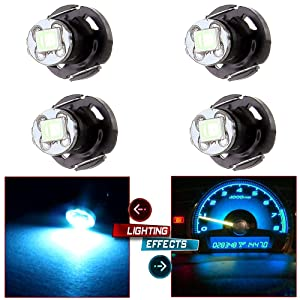 cciyu 4 Pack Ice Blue T4/T4.2 Neo Wedge 2835SMD LED Dash Climate Bulbs Replacement fit for 1997-2007 Jeep TJ Cherokee Wrangler Liberty