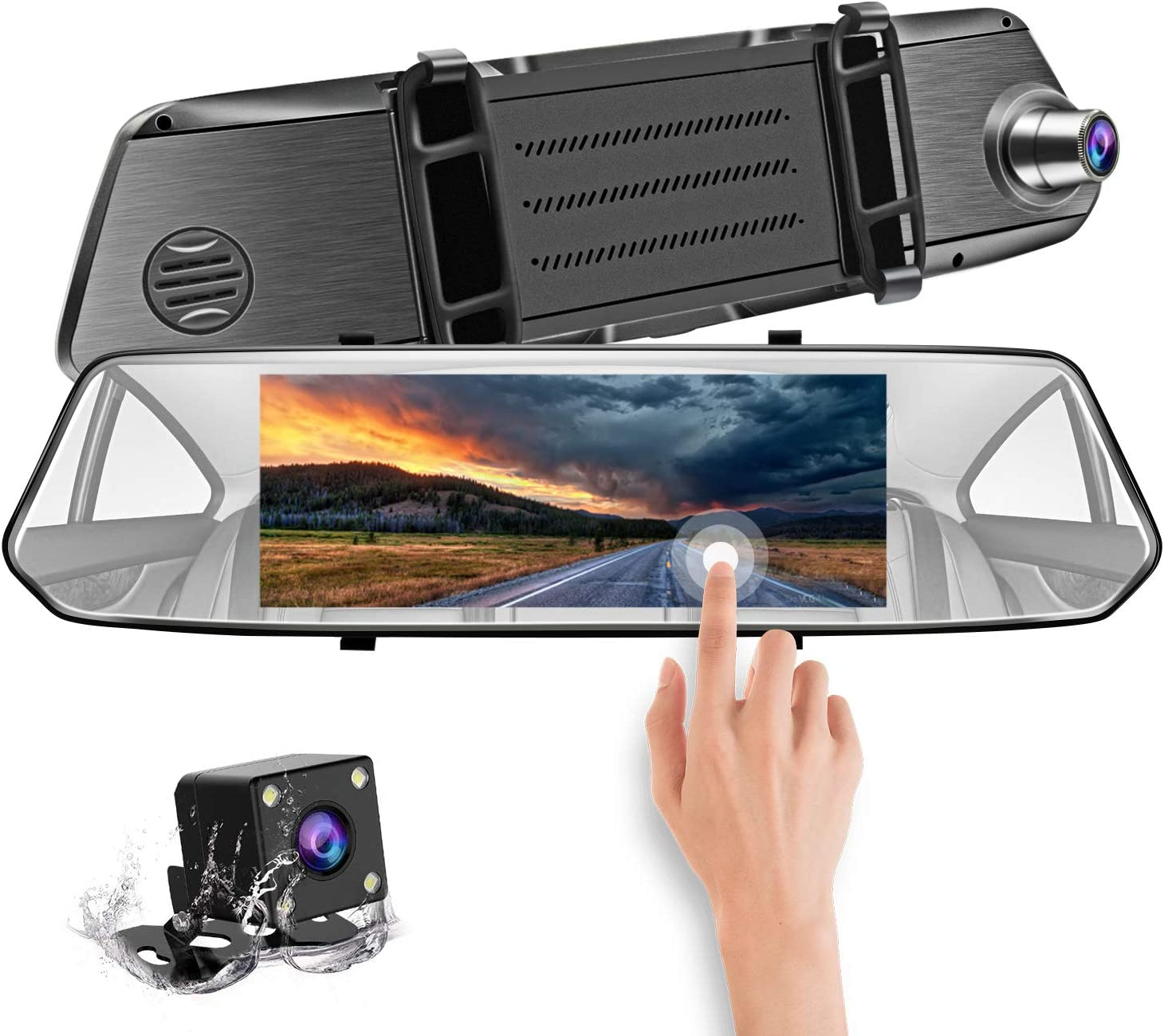 CHICOM Mirror Dash Cam 7 Inch Full HD1080P Dual Lens Backup Camera, Front and Rearview Car Dvr with Motion Detection G-Sensor Night Version Loop Recording Parking Monitoring and Reversing Assistance
