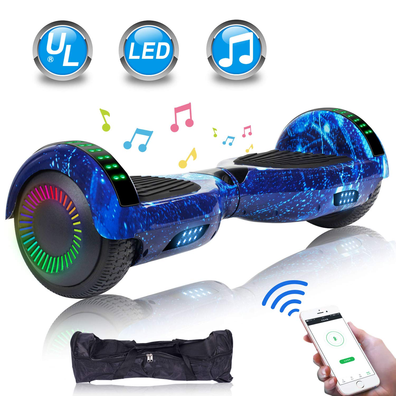 UNI-SUN 6.5'' Hoverboard for Kids, Two Wheel Electric Scooter, Self Balancing Hoverboard with Bluetooth and LED Lights for Adults, UL 2272 Certified Hover Board(Ultimate Star Blue)