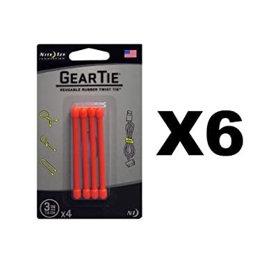 """Nite Ize Gear Tie 3"""" Bright Orange Reusable Rubber Twisty Ties (6-Pack of 4): Sports & Outdoors"""