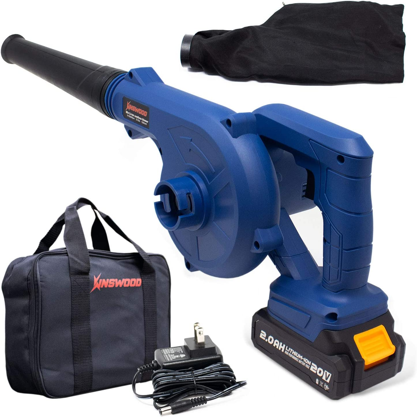 Kinswood 20V 2.0A Batteries Cordless Lithium-ion 12-in-1 Blower Vacuum for Blowing Leaves, Vacuuming Dusts