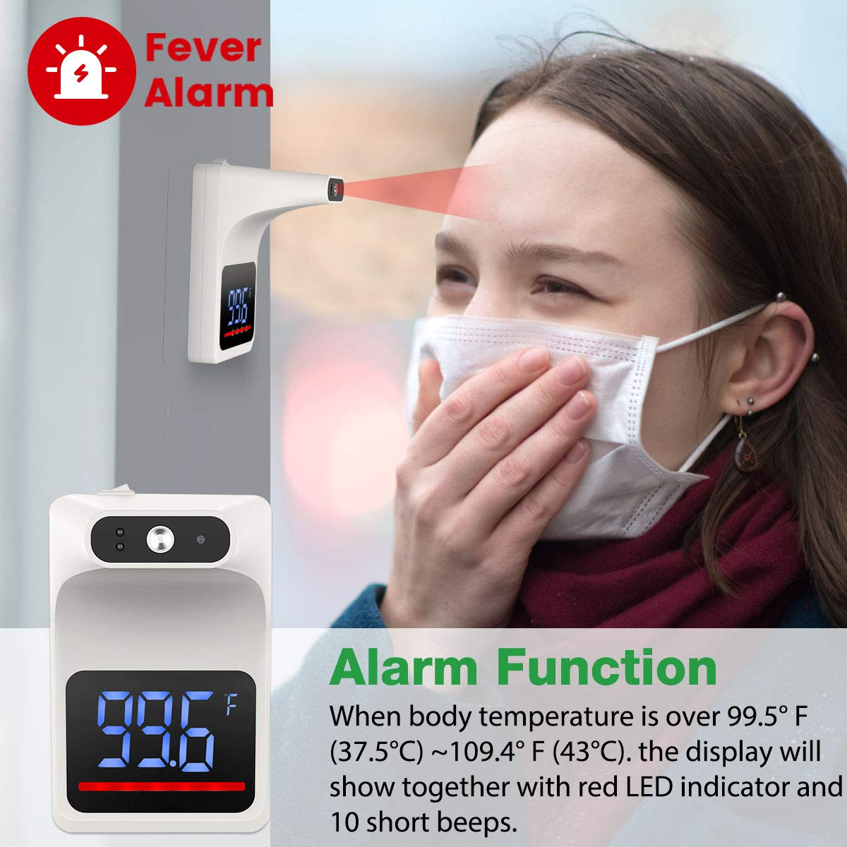 Wall-Mounted Digital Thermometer with Fever Alarm LCD Display for Offices Schools WMWHALE Non-Contact Infrared Forehead Thermometer Shops with Tripod Factories