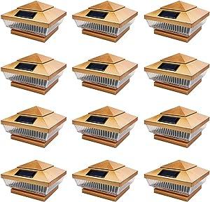 iGlow 12 Pack Copper Outdoor 4 x 4 Solar 5-LED Post Deck Cap Square Fence Light Landscape Lamp PVC Vinyl Wood Bronze