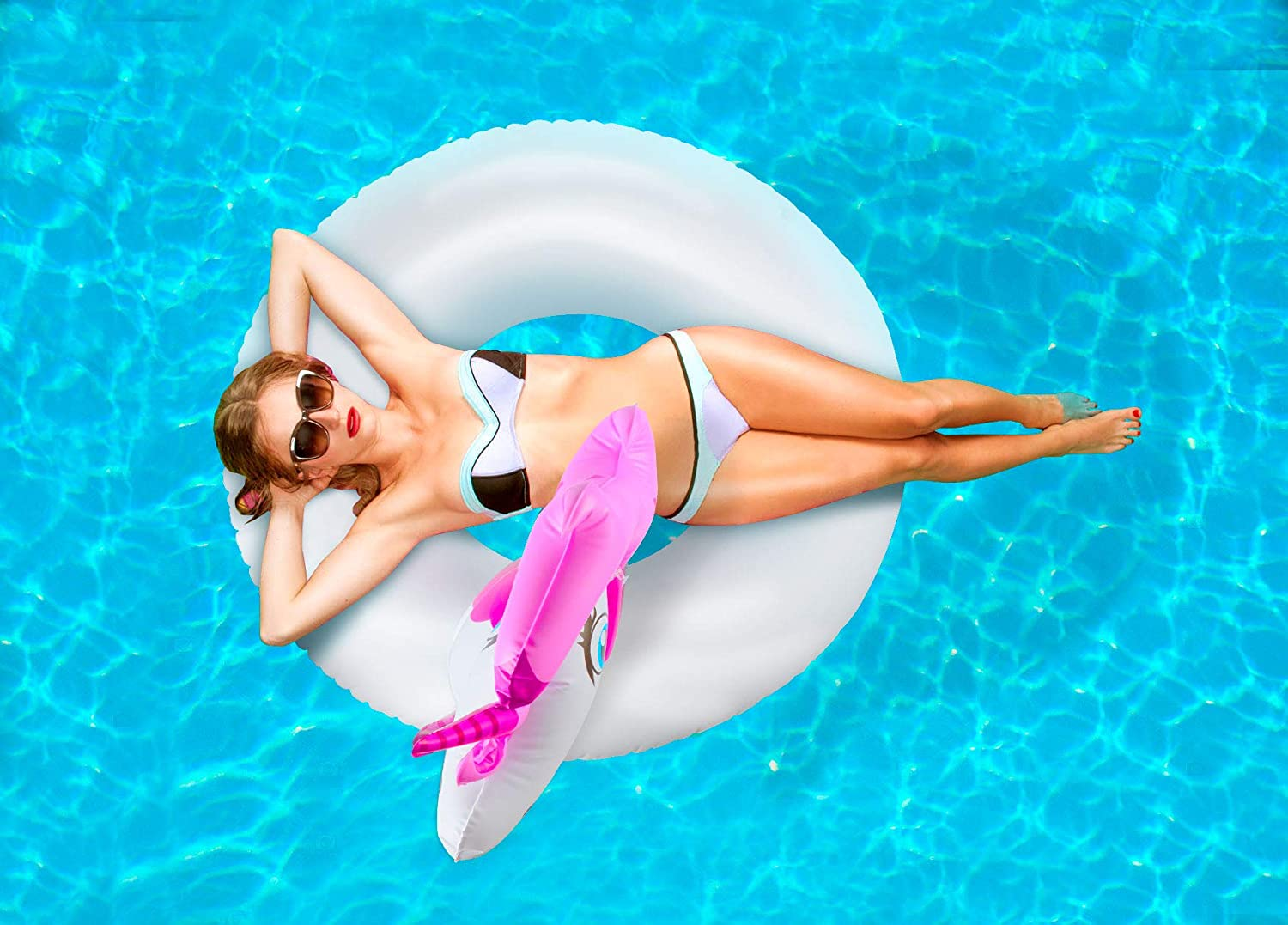 Chwares Pool Floats,Inflatable Unicorn Swimming ring for Adults and Kids,Beach Lounge Pool Floats Seat Boat Children Swimming Pool Loungers Outdoor Pool Toys Float Raft 74x82x80cm Kids Swim Rings
