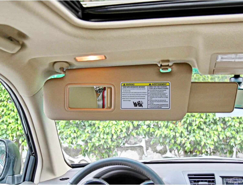 SENSHINE Left Driver Side Sun Visor for Toyota Highlander 2008-2013 w//Vanity Light Replacement Assembly 74320-48500-B0 Gray