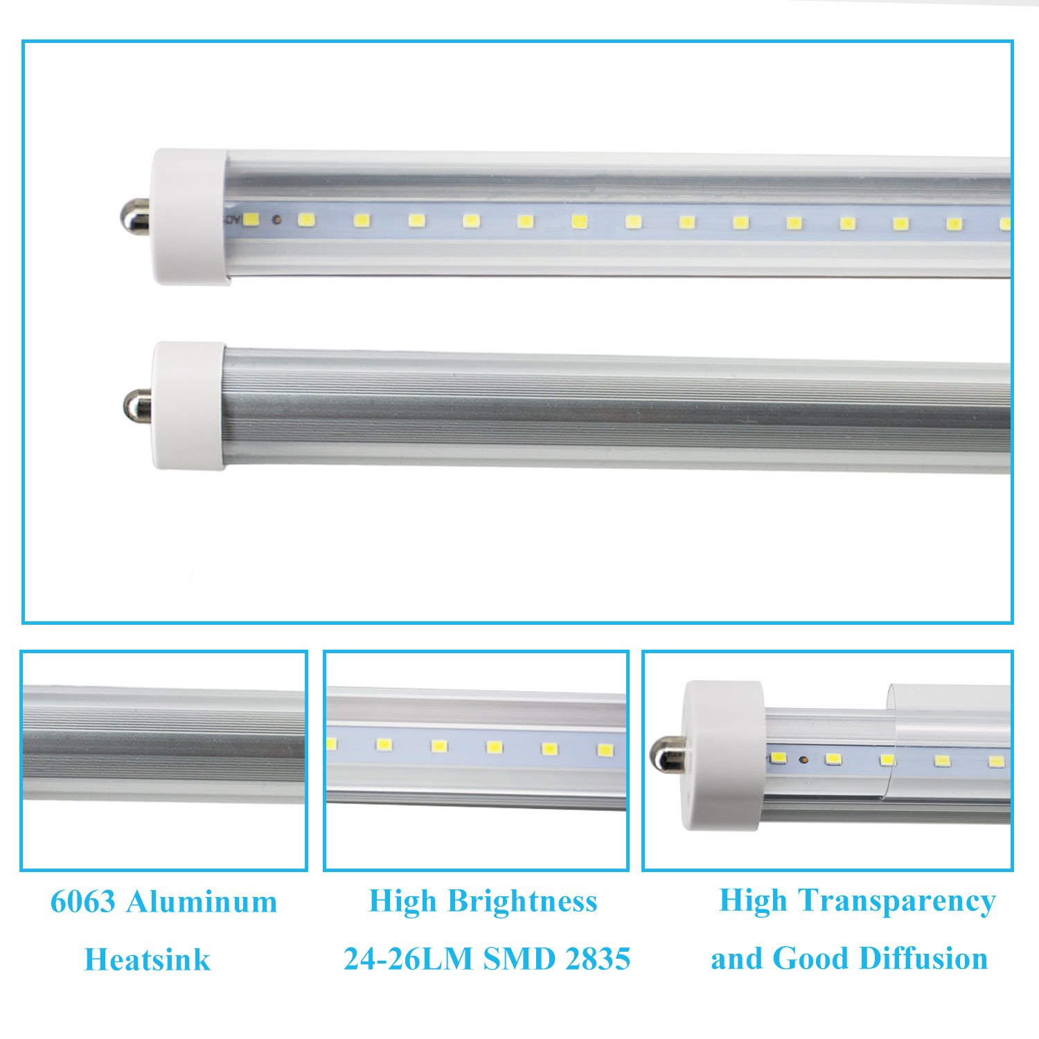 Jesled T8  T10  T12 8ft Led Tube Light  8 Foot Led Bulbs