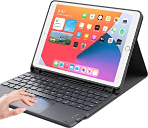 """iPad 8th Generation Case with Keyboard, Smart Trackpad, Detachable Wireless with Pencil Holder Stand Folio Keyboard Cover for iPad 8th Gen/7th Gen 10.2, iPad Air 3rd Gen/Pro 10.5"""", Black"""