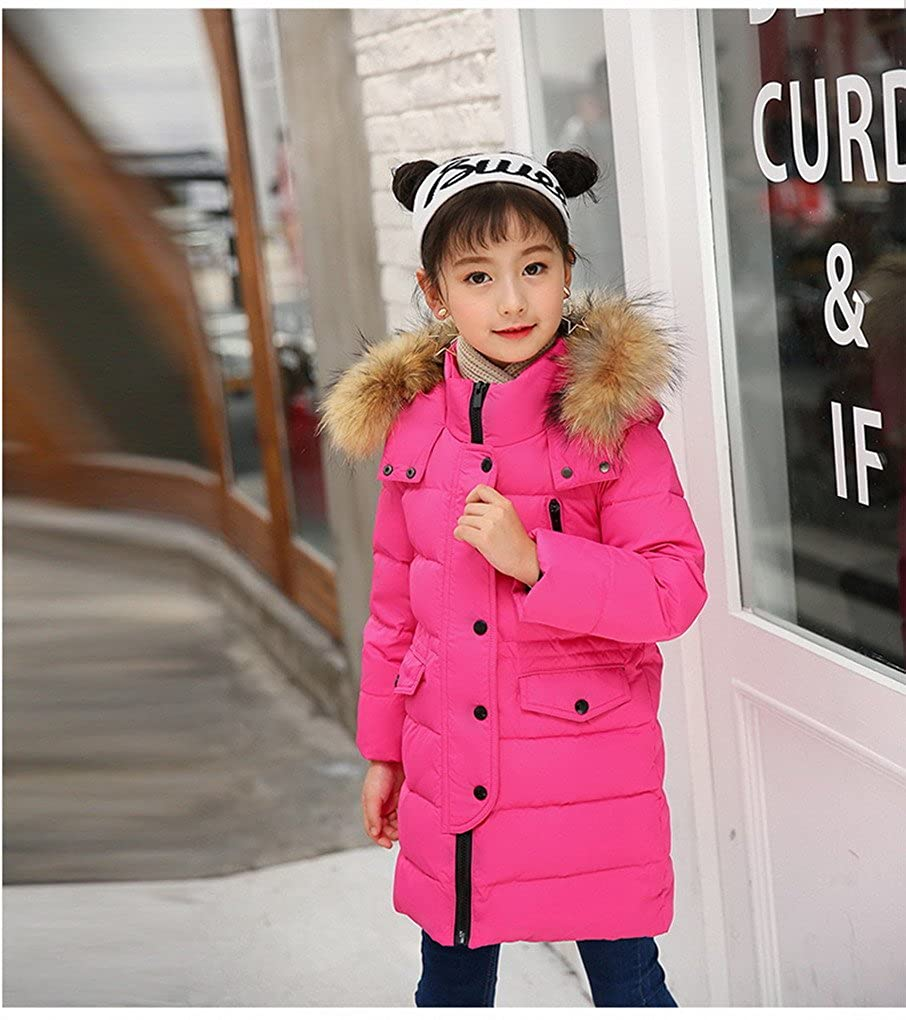 Kids Girls Boys Winter Ruffle Hood Padded Coat Fur Collar Long Down Jacket Outwear