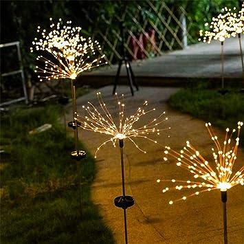 Luces Solares Fuegos Artificiales Luces Al Aire Libre Interior Jardín Exterior Inducción Fuegos Artificiales Luces Lugares Luces Impermeable Iluminación Decorativa Navidad 5 High95cm120Light Caliente: Amazon.es: Bricolaje y herramientas