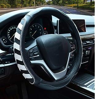 Gray CAR PASS UNIVERSAL FIIT Full Wood Grain Leather Steering Wheel Covers Fit for Suvs,Trucks,Sedans,Anti-Slip Design