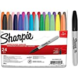 Sharpie Color Burst Fine Point Permanent Markers, 24 Pens Set With Sharpies Black Highlighter Pen