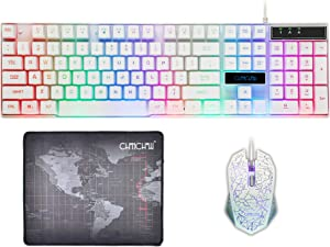 CHONCHOW 1910 Gaming Wired Backlit Keyboard Mouse Combo LED Illuminated Letter 19 Anti-Ghost Keys White Opptical Mice Compatible iMac Laptop Computer Smart Tv(W)